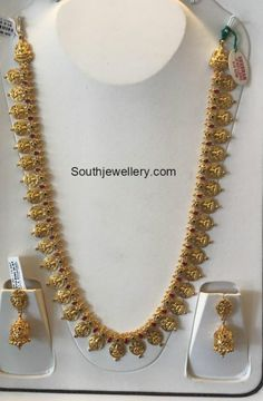 Temple Jewellery latest jewelry designs - Page 7 of 126 - Indian Jewellery Designs Gold Earrings Designs, Gold Jewellery Design, Gold Jewelry, Bridal Jewelry, Ruby Jewelry, Gold Necklaces, Necklace Designs, Bridal Accessories, Jewelry Sets