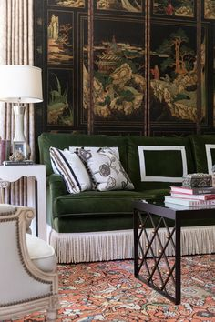 This Green Velvet Sofa with Bullion Fringe paired with the Asian screen makes a bold statement in the home of designer, Eric Ross at Boxwood Hill Green Velvet Sofa, Green Sofa, Ottoman Furniture, Reupholster Furniture, Sofa Design, New Living Room, Living Room Decor, Living Spaces, Interior Architecture