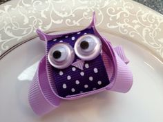 Purple Owl Hair Bow Clip  Toddler Hair Clip  by katelynnskloset, $5.50