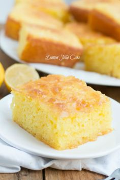 This Lemon Jello Cake is perfect for anytime of the year the fresh tastes of summer or to brighten the winter holiday meals. Lemon Jello Cake, Jello Cake Recipes, Cake Mix Recipes, Dessert Recipes, Lemon Cakes, Lemon Pudding Cake, Lemon Desserts, Lemon Recipes, Just Desserts