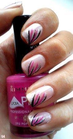 nail art 2014 Summer 2014 Nails pink and black striped Nail Polish Designs, Cute Nail Designs, Nail Art Ongles En Gel, Nagellack Party, Cute Nails, Pretty Nails, Fan Nails, Nail Art 2014, Nagel Blog