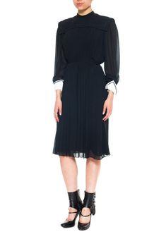 1940s Vintage Styish Knee-length Black Dress  Size: S/M/L