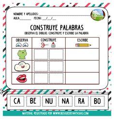 cuadernillo de silabas hoja 4 Classroom Labels, Classroom Organization, Teaching Babies, Dual Language, Pre Writing, Spanish Lessons, Elementary Education, Word Work, Writing Activities