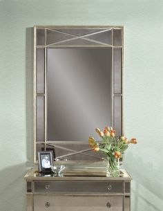 Campagna Silver Glass Leaf Rectangle Wall Mirror