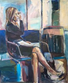 Seated lady blue