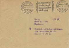 Postscheckamt Frankfurt (Main) 05-09-1960 Stempel 'Fernsehen ist schon, doch Schwarzsehen wird teuer'