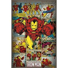 Marvel Iron Man Poster ($5.94) ❤ liked on Polyvore featuring home, home decor, wall art, comic posters, iron wall art, superhero wall art, super hero posters and comic book posters