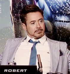 """RDjr's reaction to the Reporter confessing: """"I have a man crush on Iron Man.""""  1 of 2 (GIF)"""