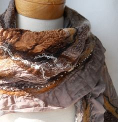 Earth toned nuno shawl