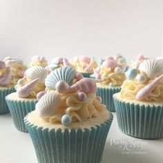 Browse through the different cakes we create here at The Pretty Sugar Cake Company, from Wedding Cakes & Wedding Favours to Celebration Cakes, to Cupcakes & Cookies. Beach Theme Cupcakes, Mermaid Cupcakes, Cute Cupcakes, Themed Cupcakes, Wedding Cupcakes, Seashell Cupcakes, Beach Theme Desserts, Beach Themes, Beautiful Cakes