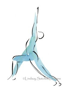 Your place to buy and sell all things handmade yoga art print Warrior Pose by LindsaySatchell on Etsy Yoga Warrior Pose, Warrior 1, Yoga Studio Design, Yoga Studio Decor, Yoga Logo, Yoga Inspiration, Painting Inspiration, Yoga Kunst, Yoga Drawing
