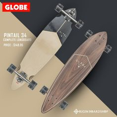 "The Pintail 34 longboard in color Walnut/Black is a Mid-length pin tail carver . It is available in size 34"" x 8.0"" x 22.5""WB. It features a Walnut + Resin hard rock maple base with a flat, no concave. This Globe longboard has 180mm Slant reverse kingpin trucks and 65mm 78a wheels.  Checkout our collection at Originboardshop.com  #globebrand #globeskateboarding #globeskateboards #globecruiser #skater #skateboarding #skatetricks #skatelife #skateshop #instaskater #thrasher #skateboard… Globe Longboard, Supra Shoes, Complete Skateboards, Skate Decks, Thrasher, Concave, Rip Curl, Skate Shoes, Products"