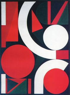 Jump, 1958 / Oil on Canvas, 130 x 97 cm Auguste Herbin (1882-1960). French Cubist and later abstract painter whose work forms a bridge between the Cubist movement and post-war geometrical geometrical abstract painting. The pure geometrical shapes and positive colours of his later abstract works had considerable influence on various younger abstract painters. Was also active in the 1950s as a designer of tapestries. Died in Paris.