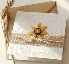 Sunflower wedding invitation/Handmade sunflower/Burlap
