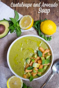 Cantaloupe and Avocado Soup -- great end of summer recipe!   Made using @almondbreeze #spon