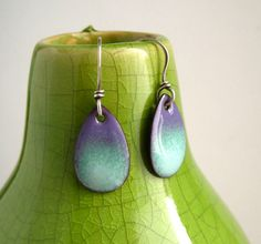 Enameled Copper Earrings, copper enamel earrings, purple green teardrops, copper enamel jewelry. £17.00, via Etsy.