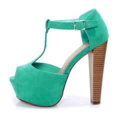 Brina 01 Mint Teal T-Strap Peep Toe Platform Heels $32 ($32) ❤ liked on Polyvore featuring shoes, pumps, heels, zapatos, sapatos, high heels, mint green pumps, mint green platform pumps, peep toe platform pumps and peeptoe shoes