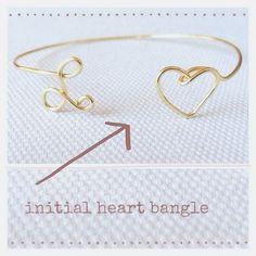 Personalized Monogram Bracelet, Initial Heart Bangle, Bridesmaids Bracelet, Gift, Gold Bracelet, Silver Bracelet on Etsy, $10.00