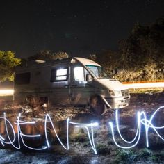 adventure mobile, adventure car, how to live in a van, moving into an rv, how to travel america, adventure couple, light drawing, writing with light