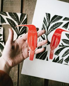 Hummingbird linocut carved plate
