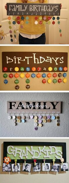 Ideas for a Family Make a hanging birthday calendar. This is cute and practical! It helps you see what is coming up!Make a hanging birthday calendar. This is cute and practical! It helps you see what is coming up! Cute Crafts, Crafts To Do, Arts And Crafts, Fall Crafts, Craft Gifts, Diy Gifts, Family Birthday Calendar, Family Calendar, Family Birthday Plaque