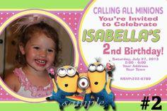 Despicable Me Minions Birthday Invitation Printable Digital File Girl Photo invite on Etsy, $8.95