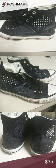 Converse all stars..like new! Black with studded details... Very cool..Moto style Converse Shoes Sneakers