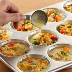 """Mini Pot Pies, Mix 1/2 cup of Bisquick, 1/2 Cup of Milk, and 2 eggs together for a base. (put about 1 tablespoon in each muffin cup)Top with about 1/4 cup of any """"fillings"""" you want. Then top with one more tablespoon of the """"Bisquick Mixture"""" - and bake at 375 for 25-30."""