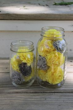Mason jar filled with paper flowers, paper flowers, mason jar, yellow and grey flowers, custom orders, center piece, wedding center piece