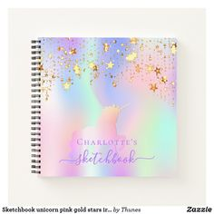Sketchbook unicorn pink gold stars iridescent name notebook Rainbow Names, Notebook Covers, Gold Stars, Page Design, Rainbow Colors, Pink And Gold, Notebooks, Iridescent, Keep It Cleaner