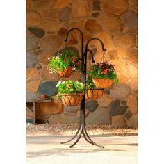 New Hanging Basket Planter Wrought Iron Free Standing Lawn