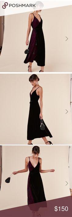 Reformation XS Lana velvet wrap dress. NWT Reformation Lana Dress. Crimson and Black wrap dress with tassel trim. Size XS NWT Reformation Dresses Midi