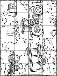 the farmer is driving his tractor to and from the farm. print out the puzzle on strong paper. cut out the puzzle along the lines into 24 pieces. mix up the puzzle pieces. start doing the puzzle. Tractor Coloring Pages, Colouring Pages, Coloring Books, Bible Crafts, Book Crafts, Paper Crafts For Kids, Easter Crafts, Big Easter Eggs, Transportation Theme Preschool