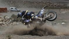 Dakar 2014 Yamaha rider Bruno Da Costa of France (pictured) crashes on his motorbike during Day 9 of the rally.