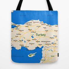 Turkey Map Design Tote Bag by Efratul - $22.00