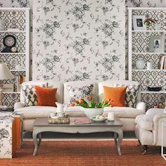 Monochrome and orange living room  Harlequin wallaper