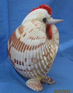 "Vintage Seashell Art - Whimiscal Chicken - Folk Art - 4 1/2""x3 1/2"" - Cute One"