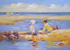 Strandtafereel kinderen op het strand | Schilderijen | Bronze and More voor een…