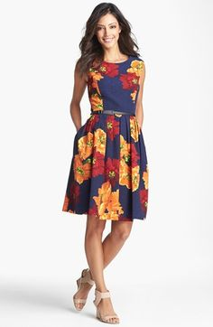 Ellen Tracy Print Sleeveless Fit & Flare Dress available at #Nordstrom