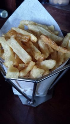 Pommes Frites at The Back Abbey: Fresh Kennebec Potatoes blanched in duck fat then fried in a non GMO canola oil blend. YUM!