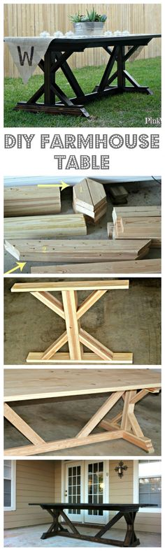 to Build a Farmhouse Table (Part The ULTIMATE outdoor patio project, this Farmhouse Table is an awesome Anthropologie Knock Off Project!The ULTIMATE outdoor patio project, this Farmhouse Table is an awesome Anthropologie Knock Off Project! Furniture Projects, Home Projects, Diy Furniture, Furniture Outlet, Furniture Plans, Garage Furniture, System Furniture, Homemade Furniture, Furniture Stores