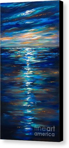 Dusk On The Ocean Canvas Print by Linda Olsen.  All canvas prints are professionally printed, assembled, and shipped within 3 - 4 business days and delivered ready-to-hang on your wall. Choose from multiple print sizes, border colors, and canvas materials.