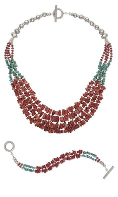 Multi-Strand Necklace and Double-Strand Bracelet Set with Coral and Turquoise Gemstone Beads and Hill Tribes Fine Silver Beads