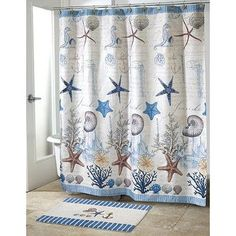 Beach style shower curtain with a motif of starfish, shells, and the ocean floor. The Avanti Antigua shower curtain coordinates with other bathroom accessories in the Antigua line. Soothing blues and