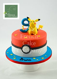 Or blue bottom and Pikachu sitting on a fondant pokeball on top.