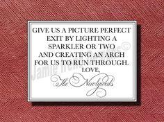 Wedding Sparkler Send Off Sign or Poster DIY by WeddingsByJamie, $10.00