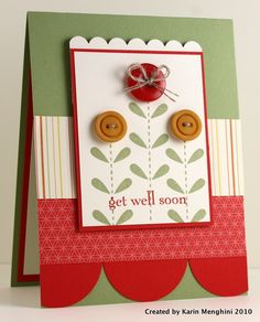 "I like the use of color and patterned paper.  As well as the ""circle"" scalloped look on the bottom of the card."