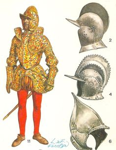 BOURGUINGNOTTE. Casco estándar, utilizado por el piquero de 1548.