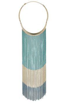 Cadena  Collar de cadenas metálicas en tonos azul y blanco de Wallis.