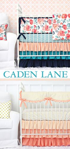 Coral and Navy Nursery Design - Caden Lane is a designer line of baby bedding and nursery decor, with the most amazing crib sets you will ever see! Love the top one!